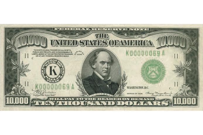 Американский доллар. 10000 долларов США. Коллекционные купюры ...
