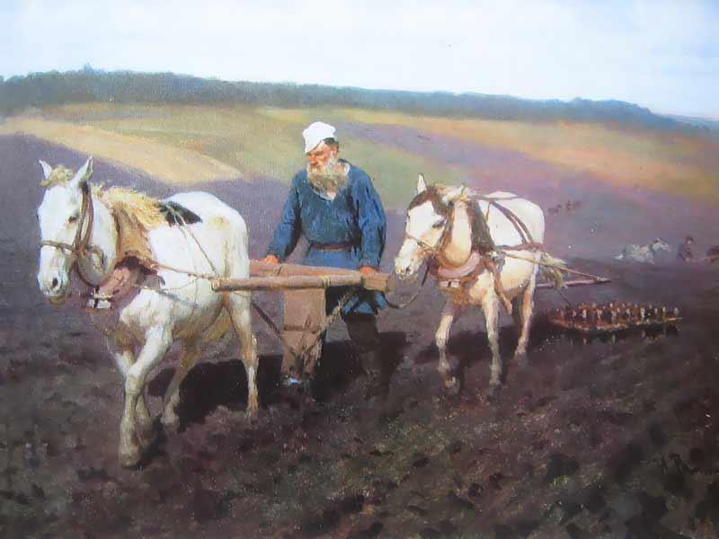 Картина Репина Л.Толстой на пашне в Ясной Поляне.  фото