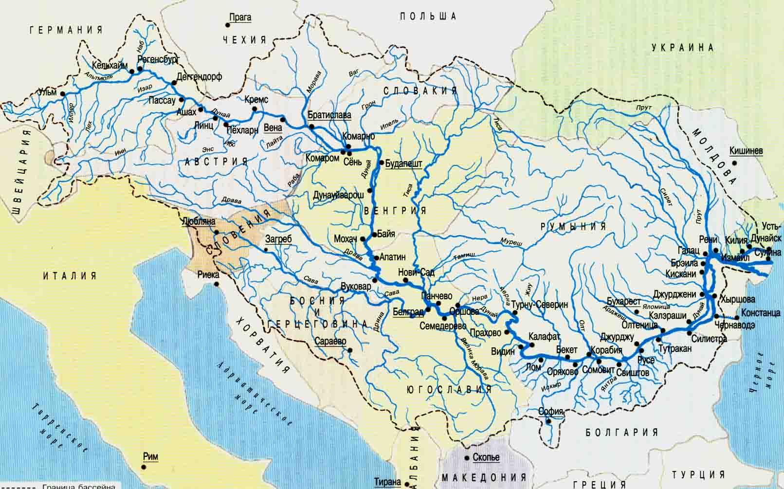 Дуная карта рек европы река дунай