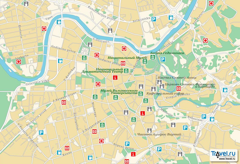 Карта центра Вильнюса