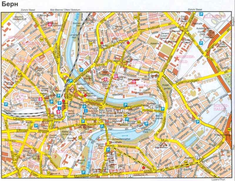 Карта Берна. Город Берн.