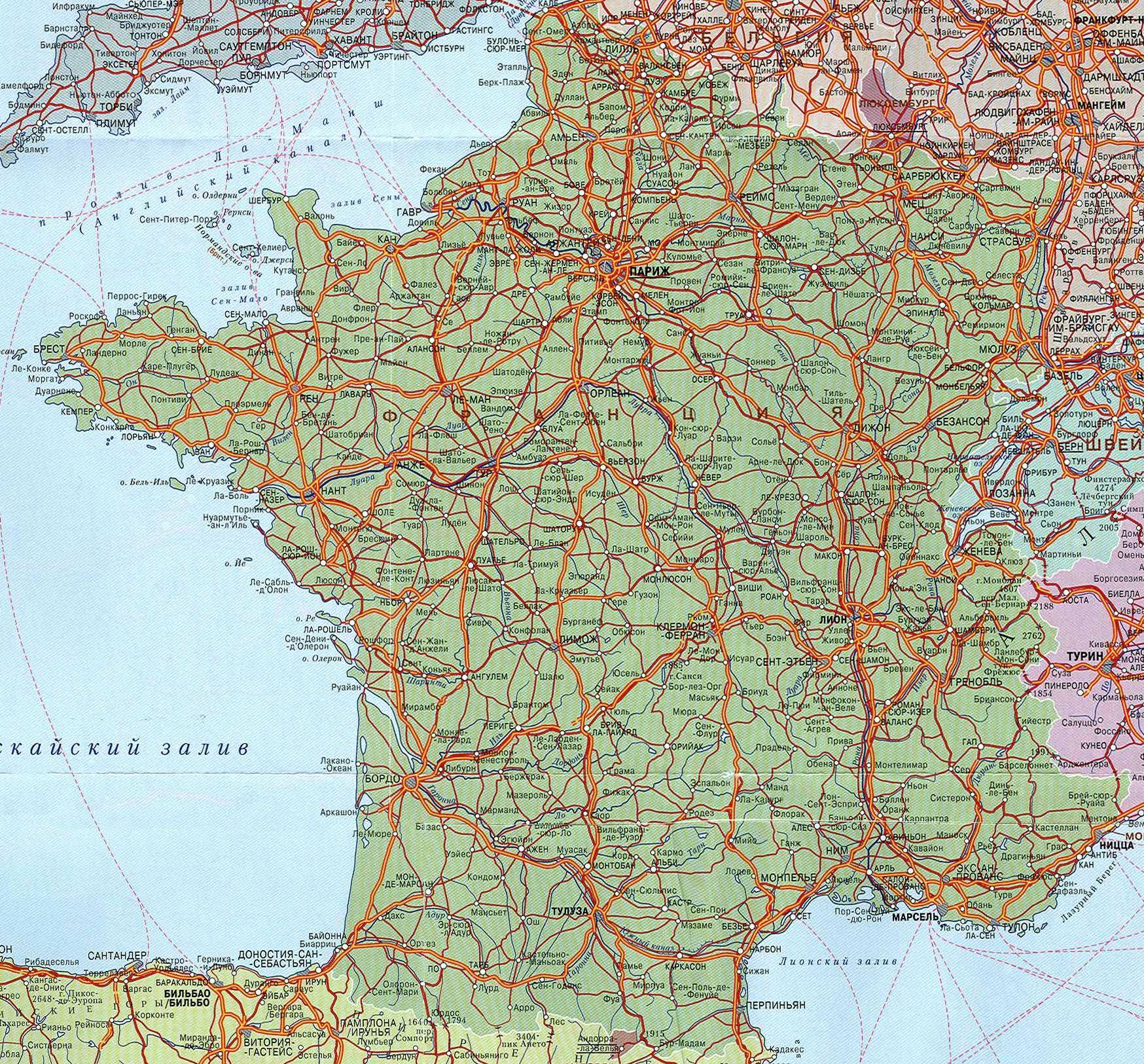 Где находится Франция Карта Скачать карту Франции Курорты  Карта Франции Где находится Франция