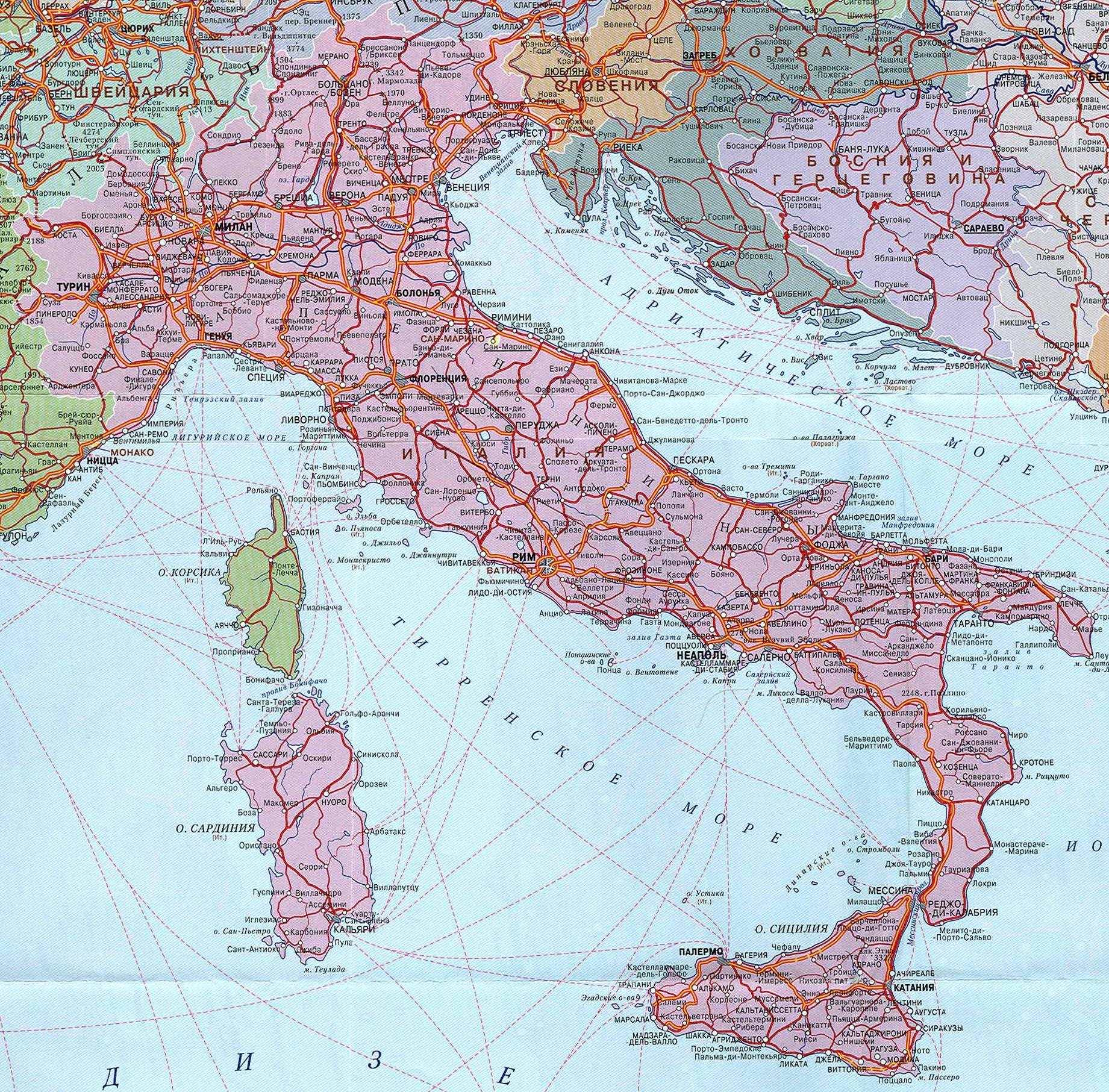Карта Италии. Где находится Италия.