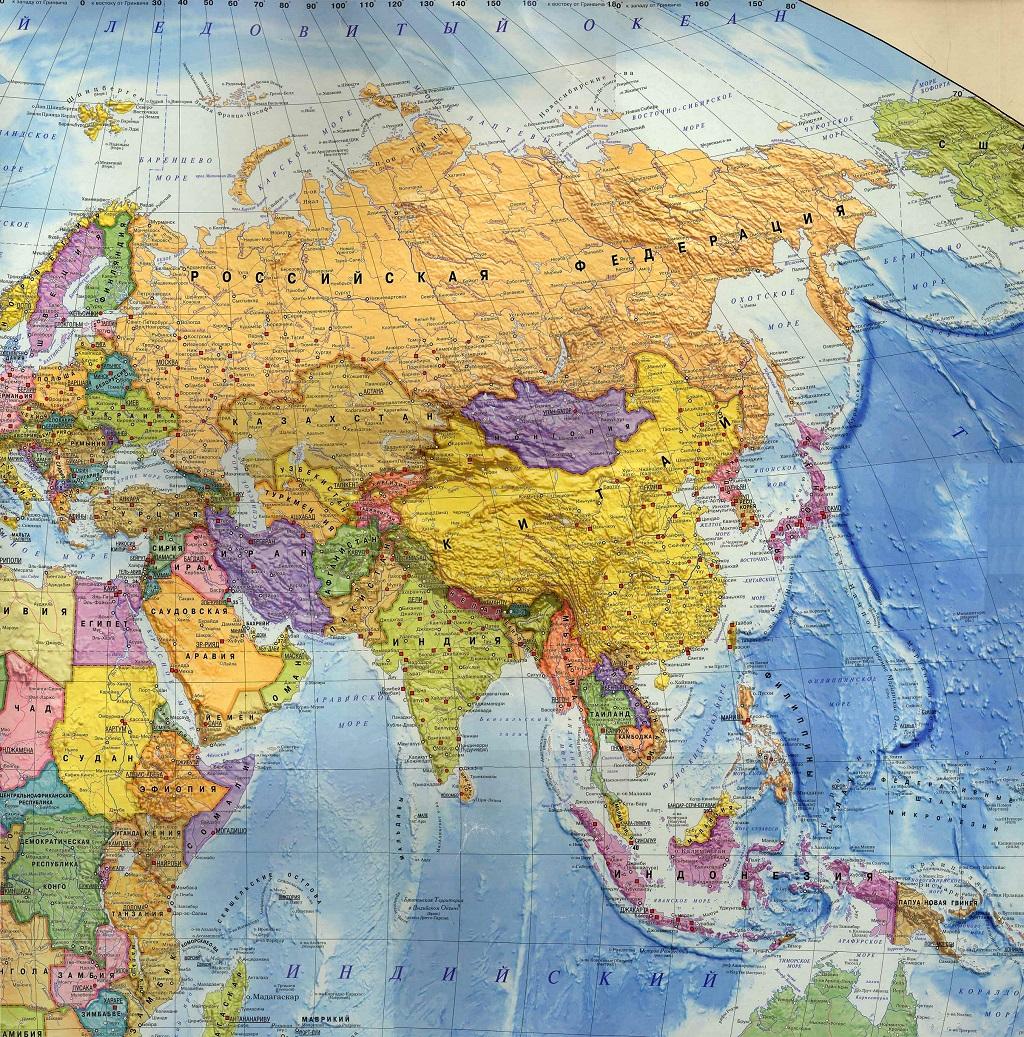 Карта Азии. Столицы государств в Азии. фото