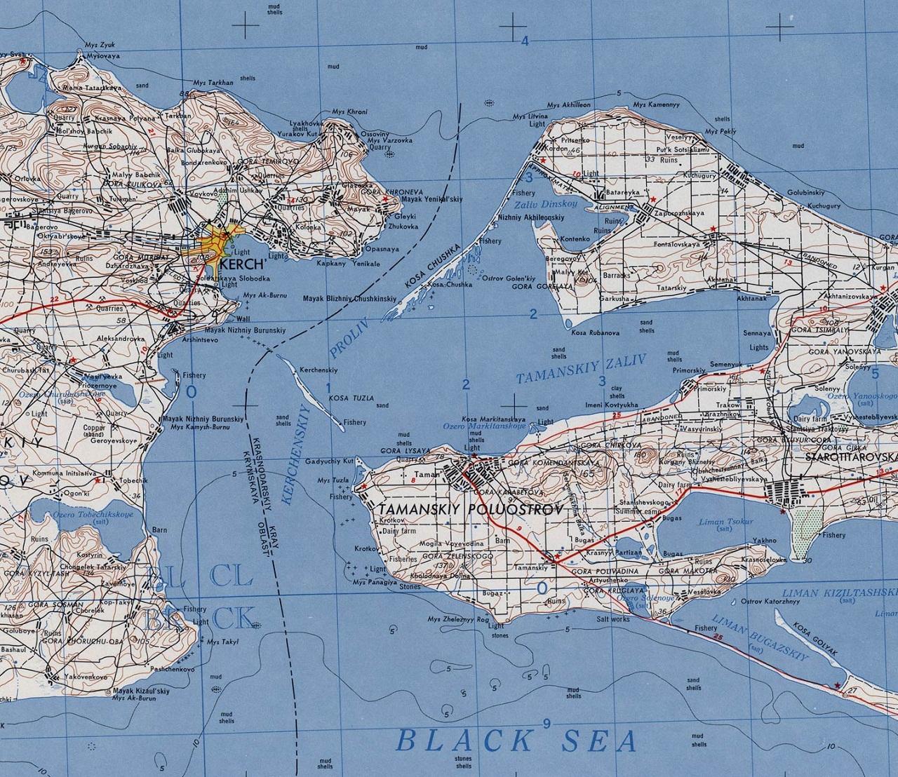 Карта Керченского пролива. Где находится