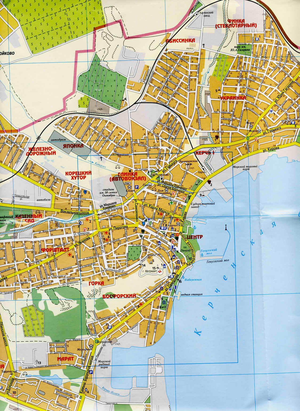 Карта Керчи Подробная карта Керчи с улицами Где находится гора  Карта Керчи фото