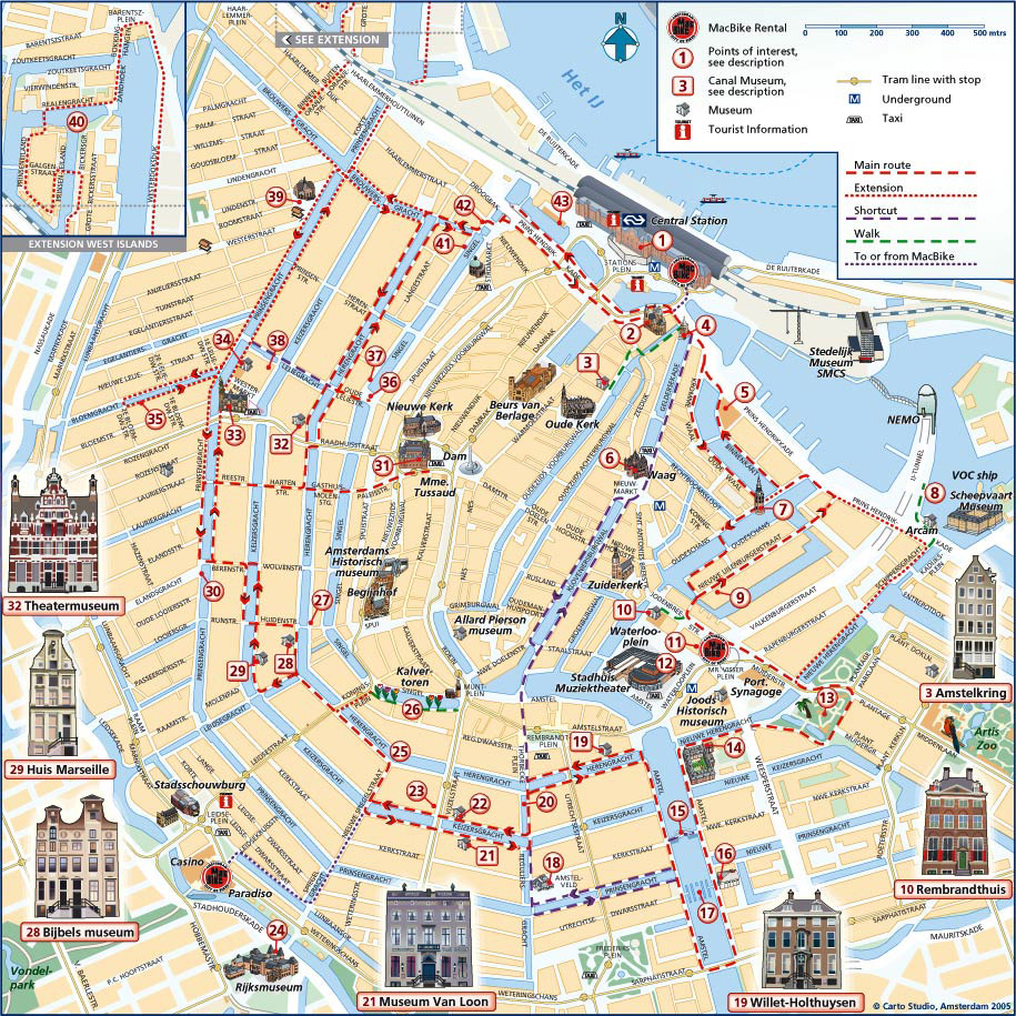 Карта Амстердама Карта Голландия Окрестности Амстердама Карта  Карта Амстердама