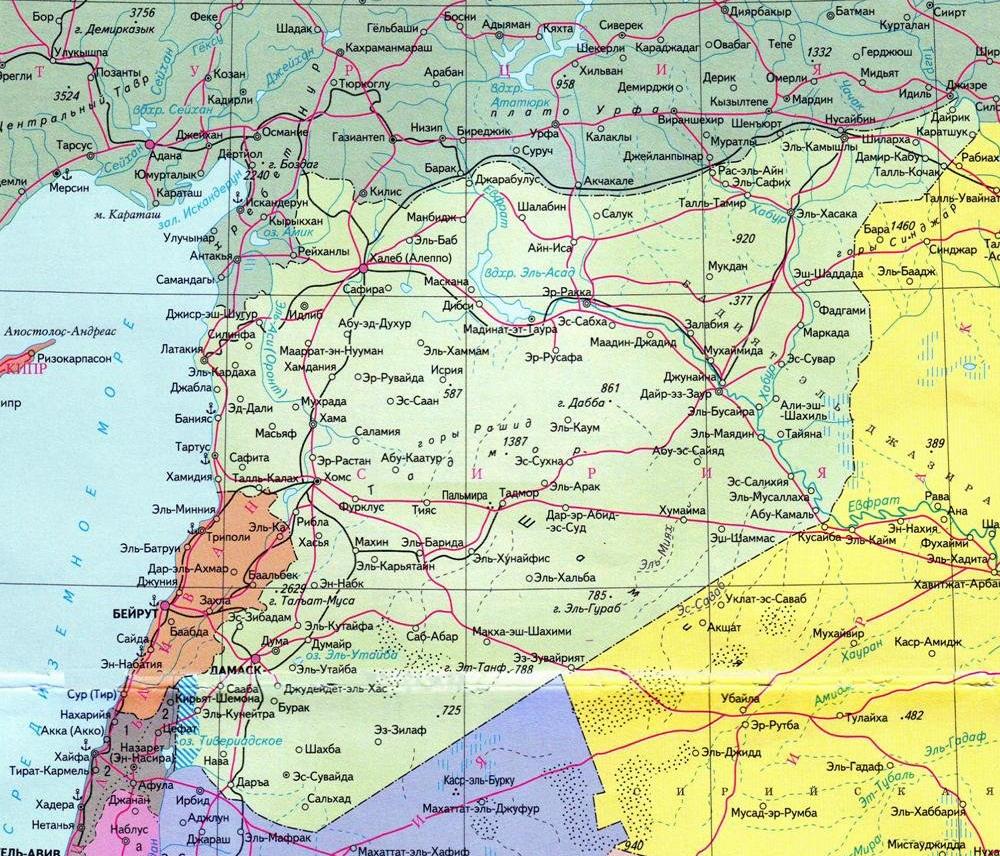 Карта Сирии. Где на карте находится Латакия, Где находится Тартус. Холмс