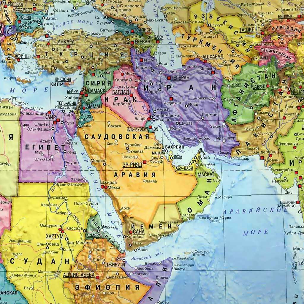 Карта мира карта ближнего востока