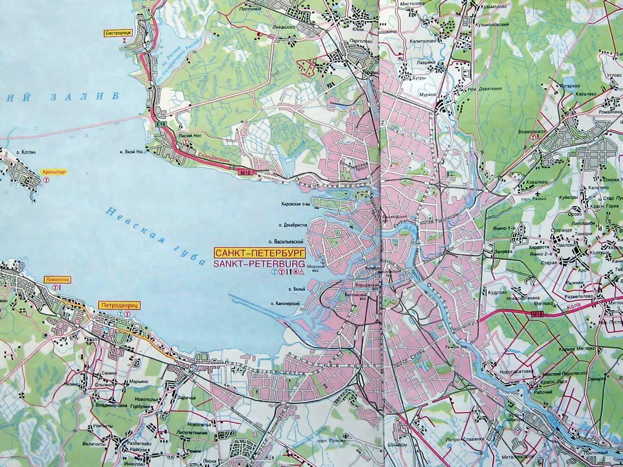 Карта петербурга и окрестностей