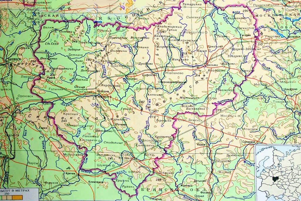 Физическая карта Смоленской
