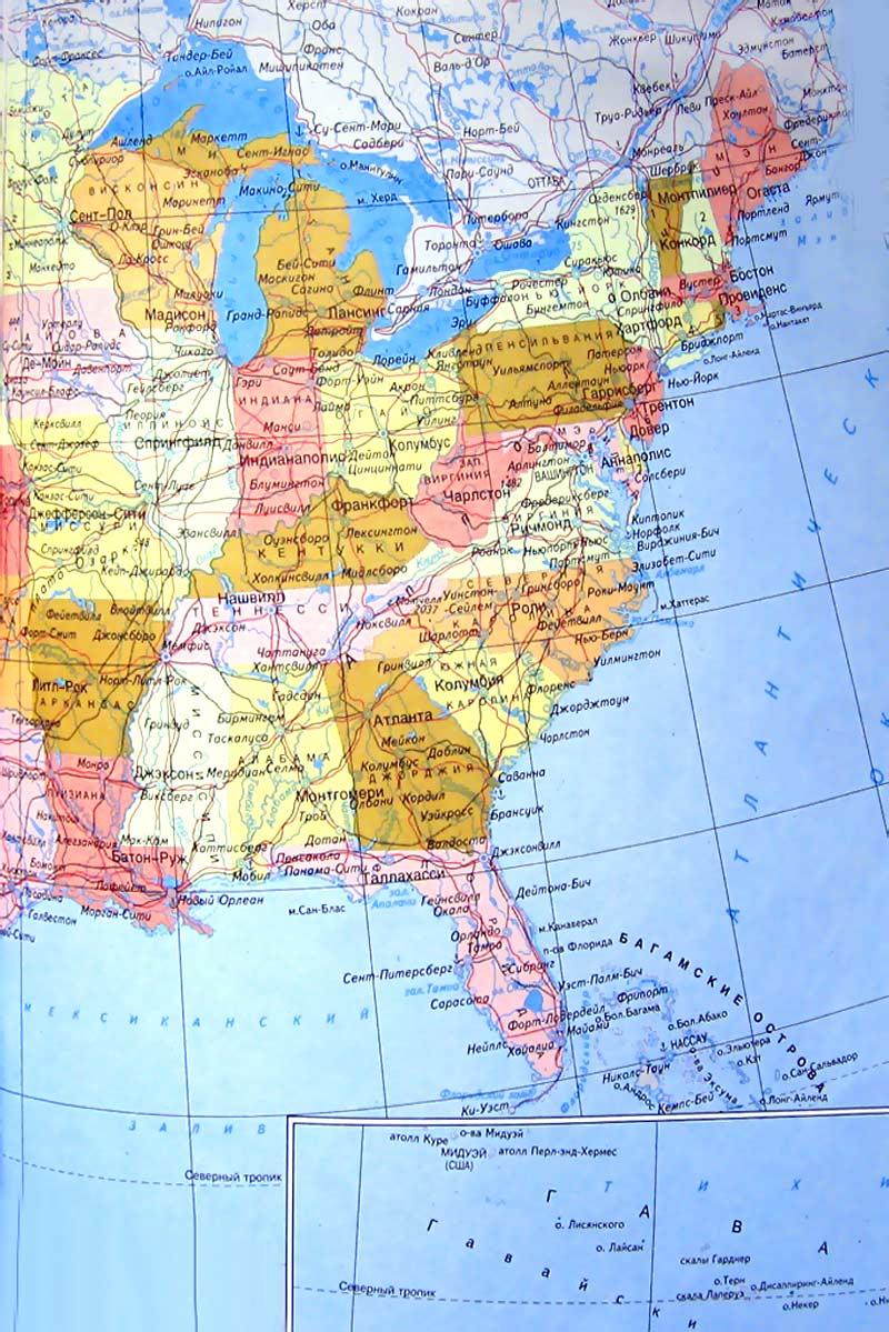 Карта сша северная америка восточное