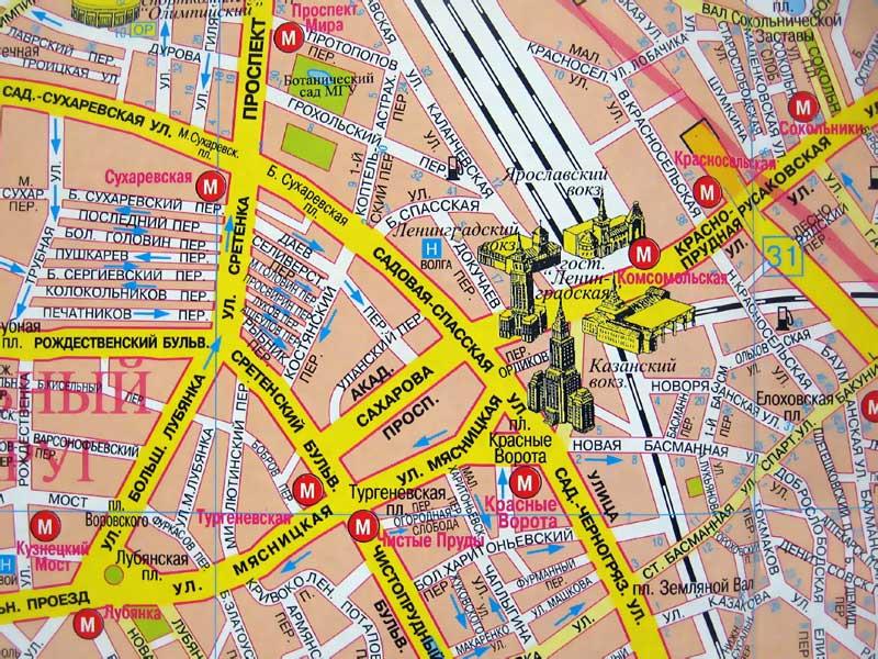 Три вокзала на карте Москвы.