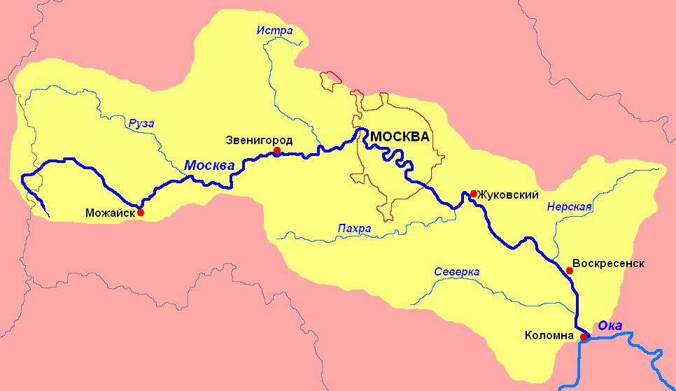 Карта Москвы реки. Города на