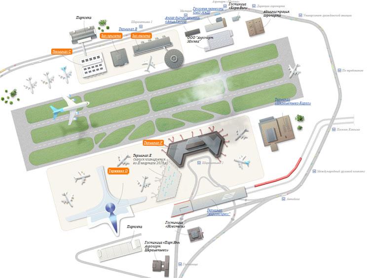 Схема аэропорта и пути