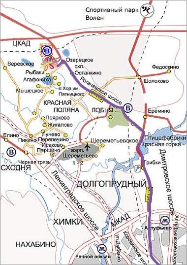 >Шереметьево на карте Москвы.