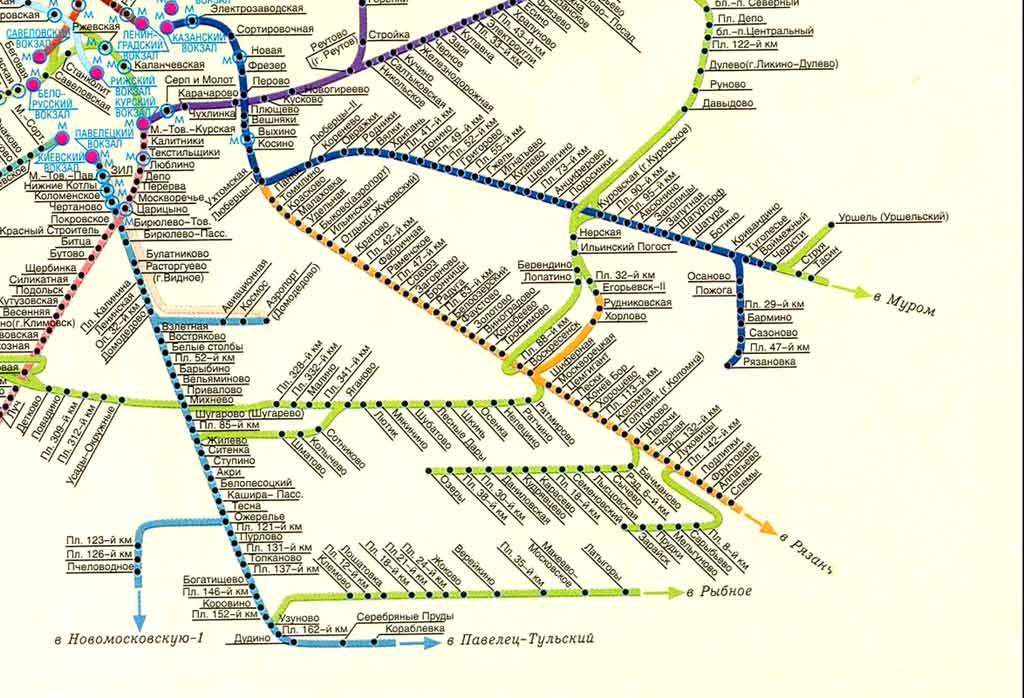 карта электрички курское