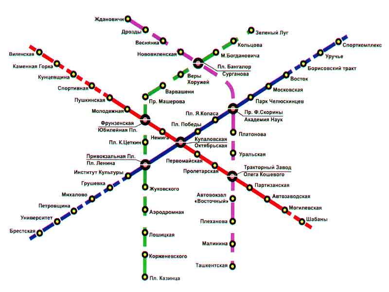 Схема метро.  Минск Справка - В настоящее время действуют две линии Красная и Синяя.  Первая от Каменной горки до...