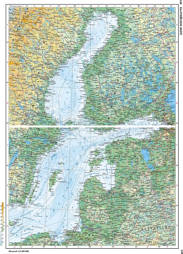 Подробная карта Балтийского моря