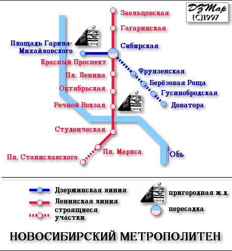 Схема метро в Новосибирске