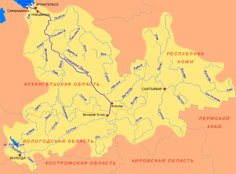 Карта Река Северная Двина.