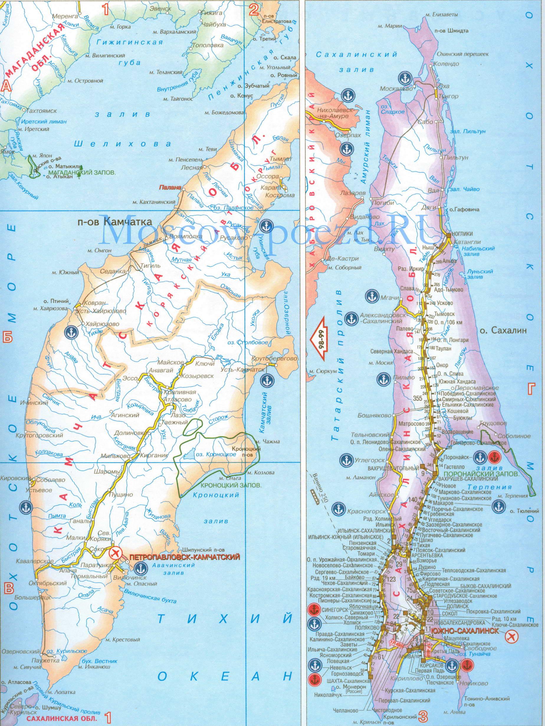 Карта Рф. Карта Сахалина и Камчатки. фото. Полуостров Камчатка. Остров Сахалин.
