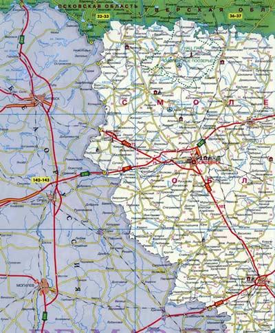 Подробная карта Смоленской области