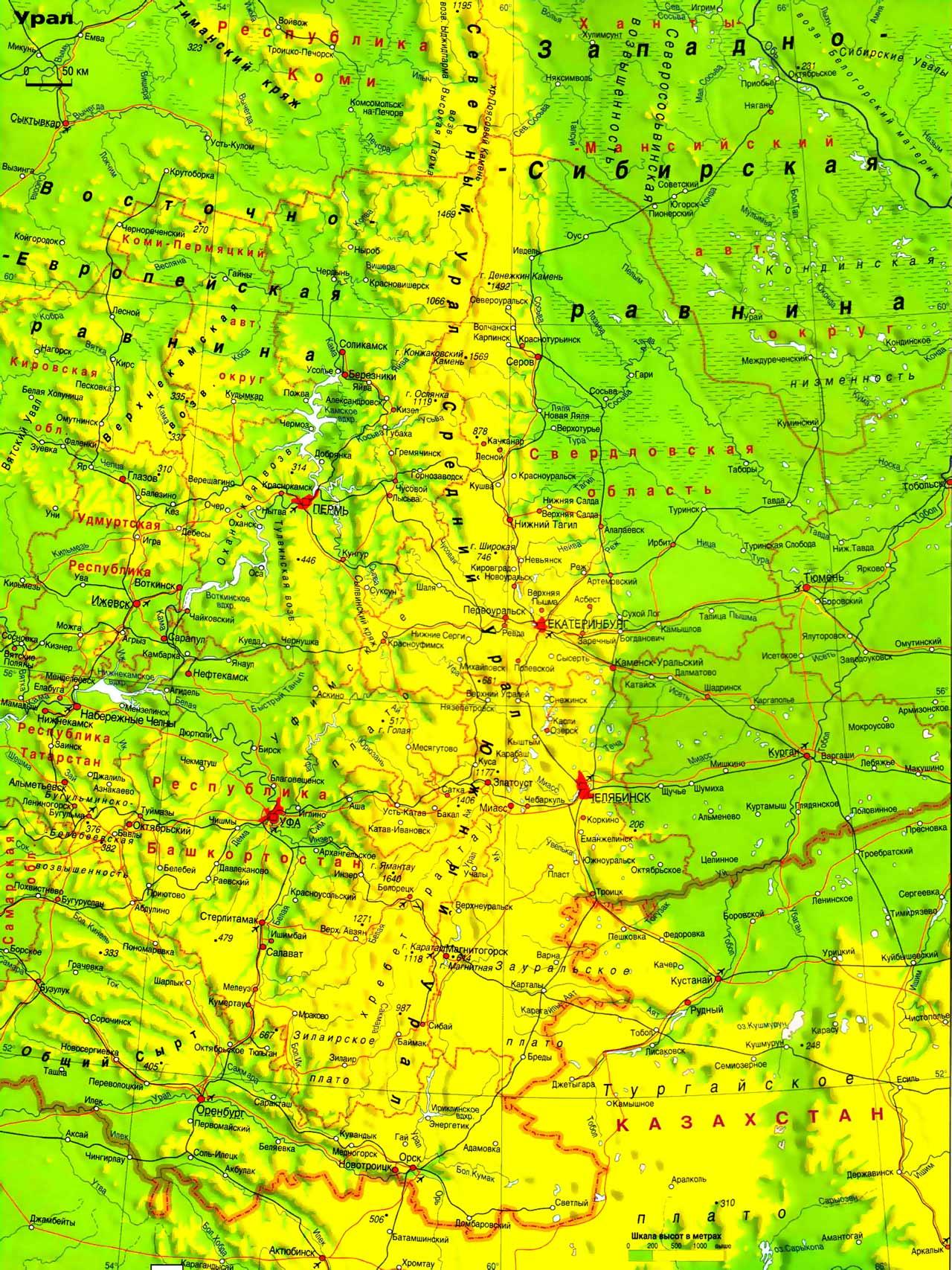 Карта урала карта среднего урала