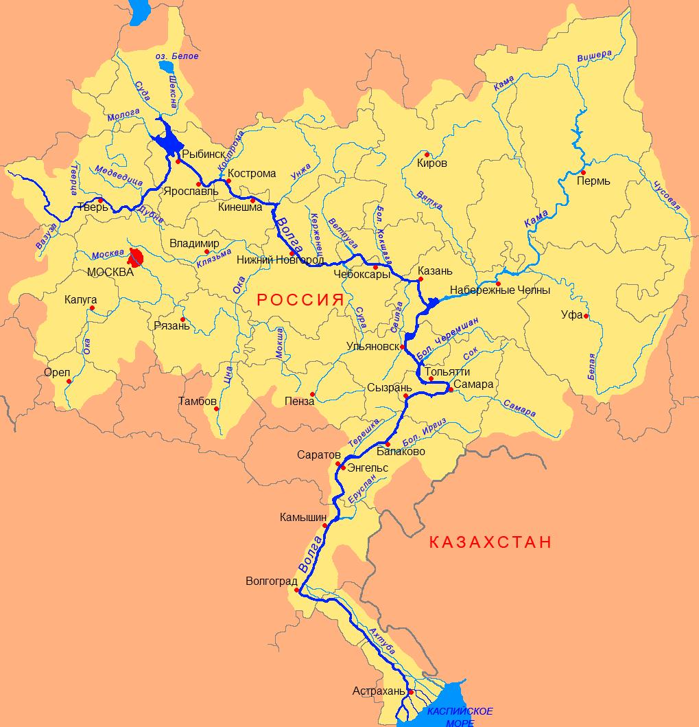 Фото карта волги река волга бассейн