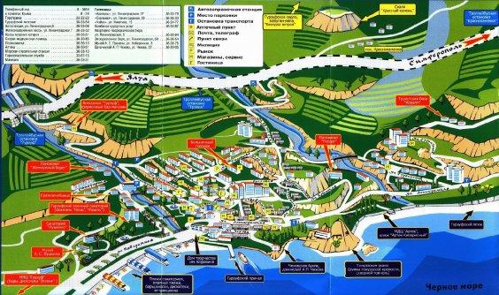 Карта Гурзуфа. Фото Гурзуфа