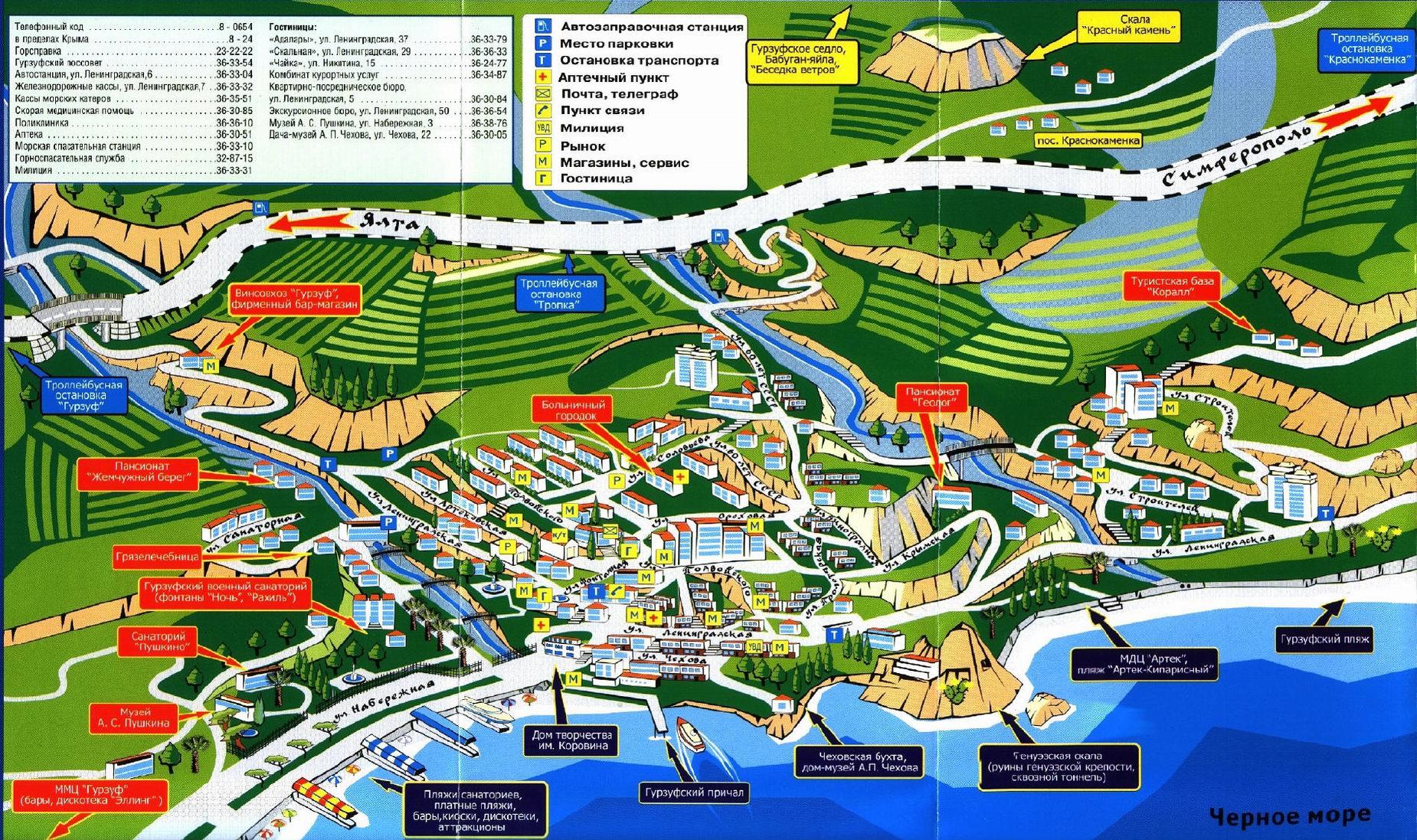 Карта Гурзуфа С Улицами И Пляжами